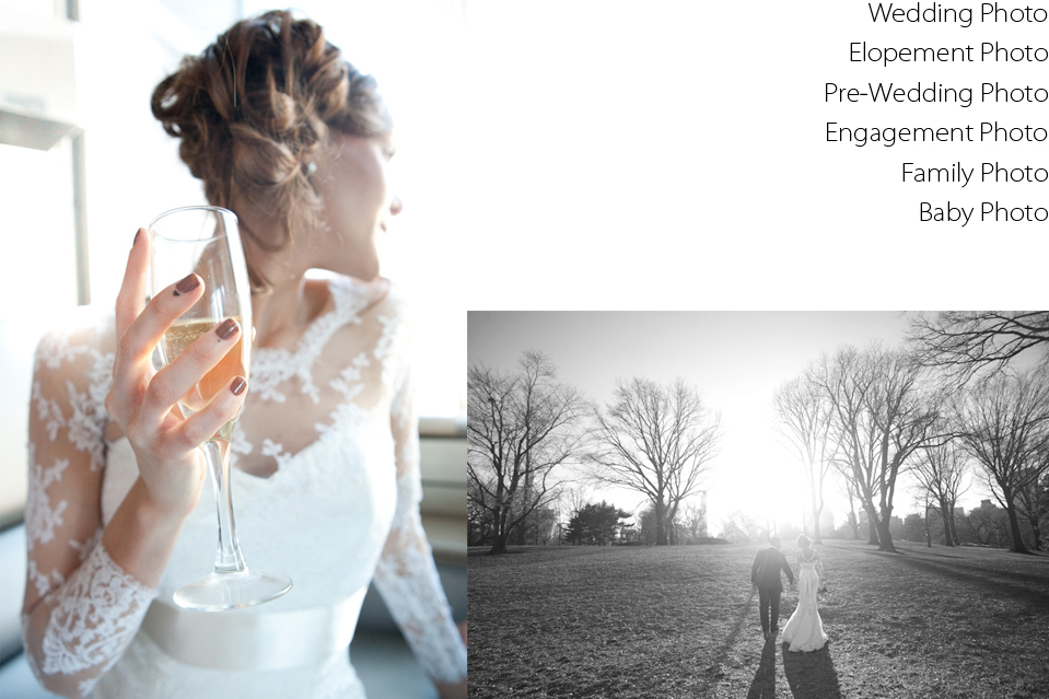 Professional Photography, Wedding Photo, Engagement Photo, Pre-Wedding Photo, Studio and Outdoor Photo, Elopement Photo, New York City